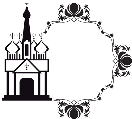 Black and white floral frame with abstract christian temple. 免版税图像 - 97100239