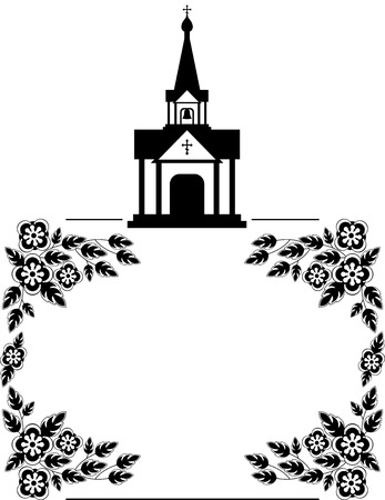 Black and white floral frame with abstract christian temple. 免版税图像 - 97100247
