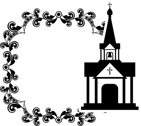 Black and white floral frame with abstract christian temple. Stock Vector - 97100245