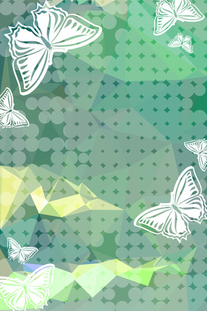 Abstract vertical background with flying butterflies.