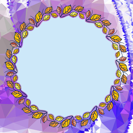 Round floral frame on a square mosaic background. Copy space. Wreath of flowers. Vector clip art. Stock Illustratie