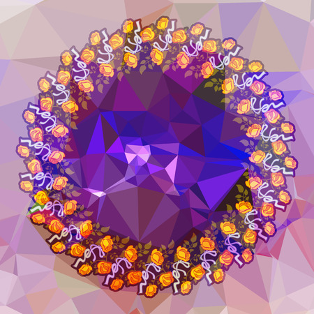 Round flower frame on a square mosaic background. Copy space. Wreath of flowers. Vector clip art.