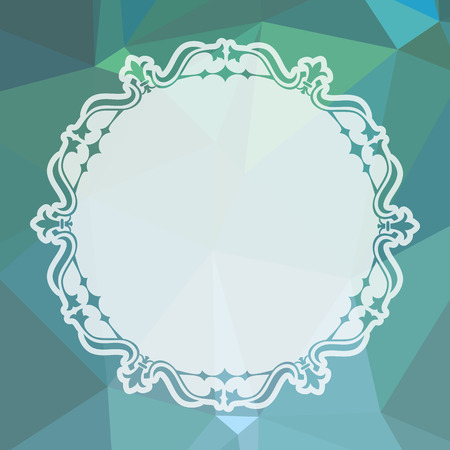 Round frame on a square mosaic background. Copy space. Vector clip art.