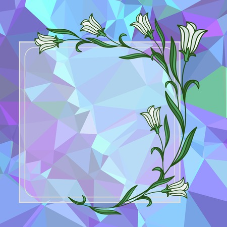 Square frame with bellflowers on a mosaic background. Copy space. Vector clip art.