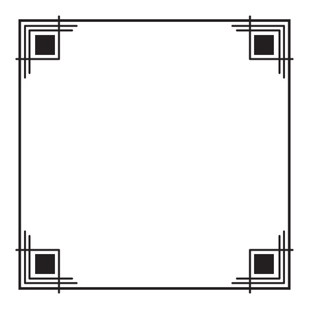 Black and white square frame. Copy space. Design element for your artwork. Vector clip art.