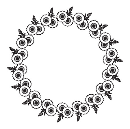 Black and white round frame with abstract flower silhouettes. Copy space. Vector clip art.