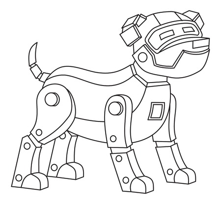 Robot dog. Printable coloring page for kids.