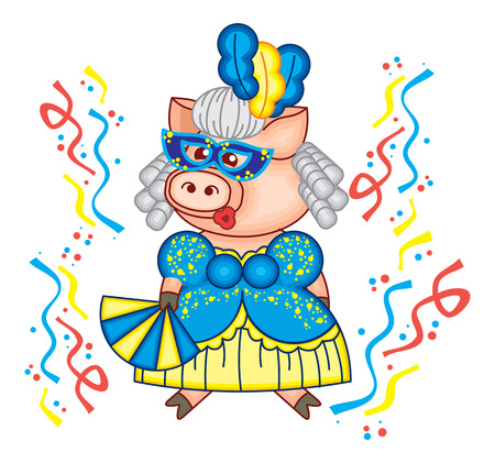 Cute piglet is dancing in carnival mask and beautiful blue gown. Funny holiday illustration. Stock Illustratie