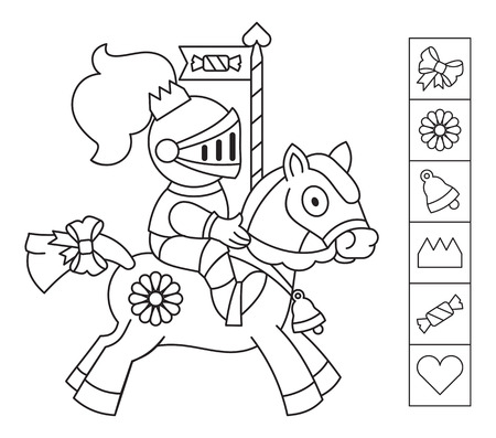 Color the knight. Find the objects hidden in the picture. Games for kids. Coloring page. Educational activity for children