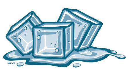 Cubitos de hielo y agua derretida.
