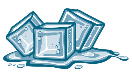 Eiswürfel und geschmolzenes Wasser.