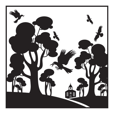 Abstract landscape with trees, birds and church silhouettes
