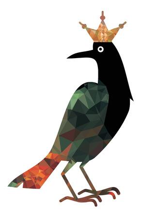 Black raven in golden crown Vektorgrafik