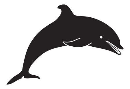 Jumping dolphin silhouette
