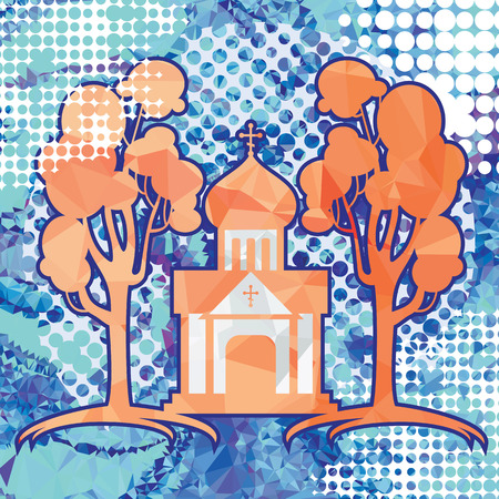 Orthodox temple silhouette on a polygonal mosaic background