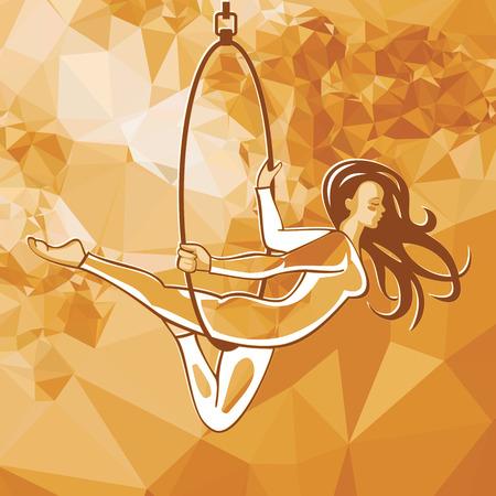 Slim acrobate sur le ring. Cirque, performance, tour, fille.