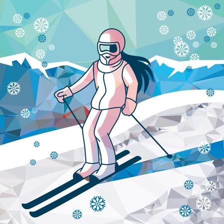 Skiing down the mountain. Skier, girl, ski. Winter sport, activity. Stock Illustratie