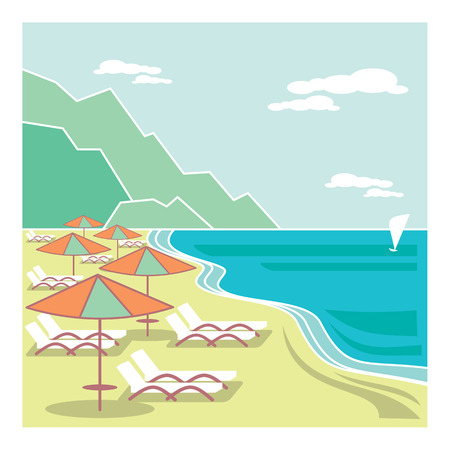 Seaside resort. Old style fashioned illustration Illustration
