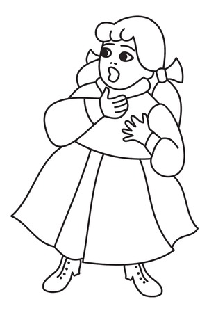 Figure of a little scared girl in long vintage dress.