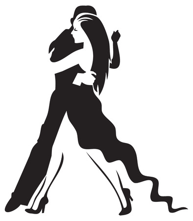 Stylised image of tango dancers.Man and woman silhouettes