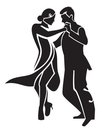 Dancing couple. Stylised image of tango dancers.
