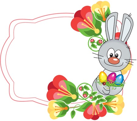 Flower frame with cute little bunny and Easter eggs