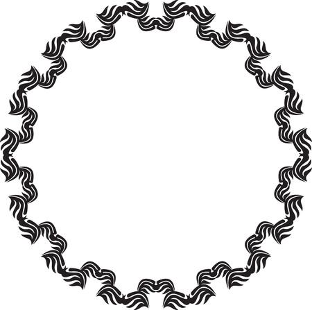 Black and white elegant round frame