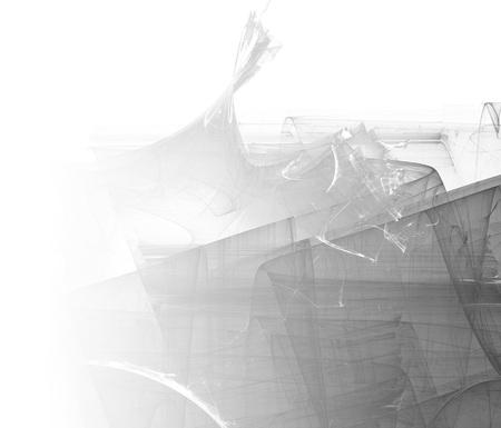 Fondo fractal abstracto en escala de grises. Lado de la página descolorido.