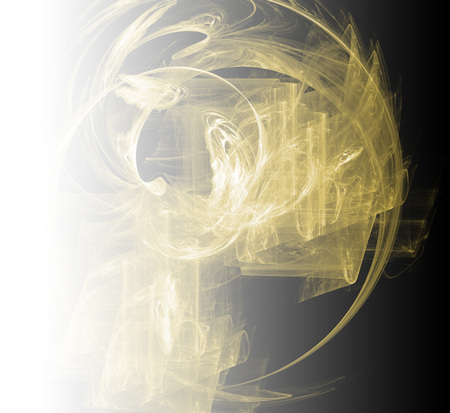 Yellow abstract fractal background. Faded page side.