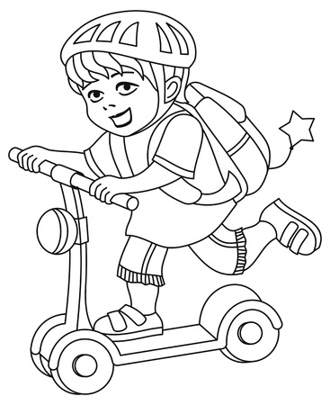 Un niño con un casco de bicicleta y una mochila a la espalda monta una scooter. Página para colorear imprimible para niños