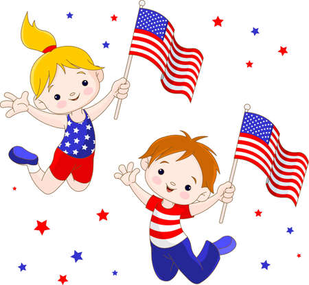 Cute boy and girl  jumping with the American flag Vector
