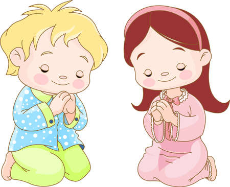 Niños lindos de rodillas y rezando
