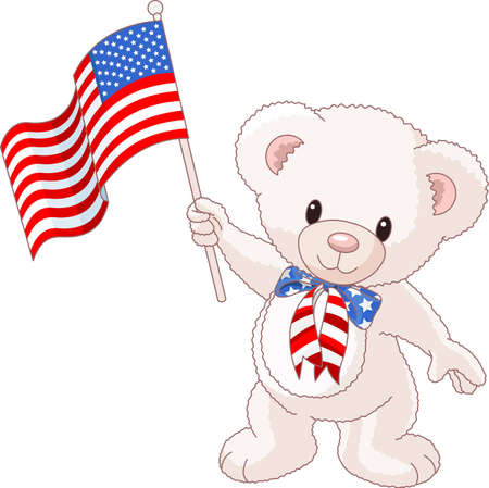 Patriotic Teddy Bear with American flag