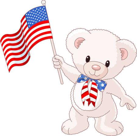 teddy: Patriotische Teddyb�r mit amerikanischen Flagge Illustration