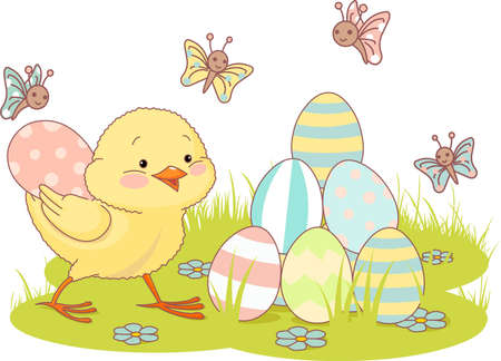 Very cute chick adds a pyramid of Easter eggs Vector