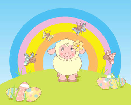 Funny Easter landscape with sheep and rainbow Vector
