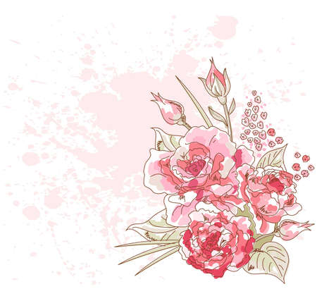 Romantic hand drown background with roses Vector