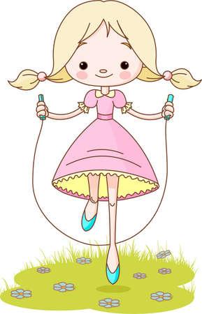 saltar: Feliz linda chica salta sobre la cuerda Vectores