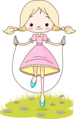 Happy  cute girl jumps on the rope Vector