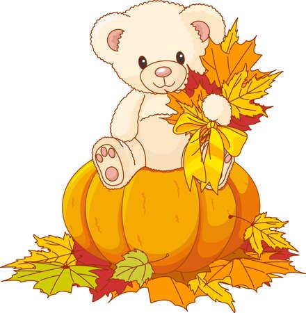 Illustration of Cute Teddy Bear sitting on pumpkin Vector