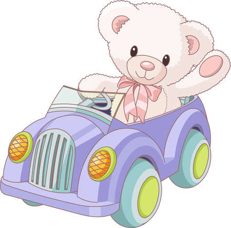 stuffed animals: Illustration of cute Teddy Bear driving a toy car