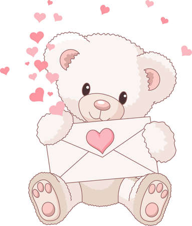 bear cartoon: Cute Teddy Bear with envelope and hearts