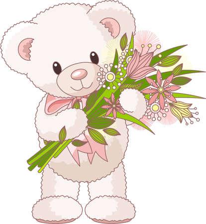 teddy bear: Adorable petit ours en peluche avec un bouquet