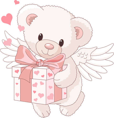 Cute Teddy bear angel bringing the love gift Stock Vector - 9782495