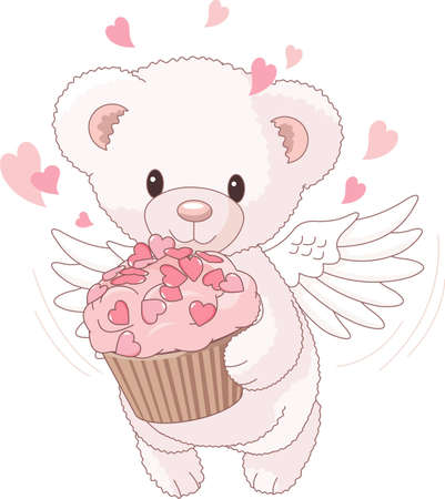 Cute Teddy bear angel bringing the love cupcake Vector