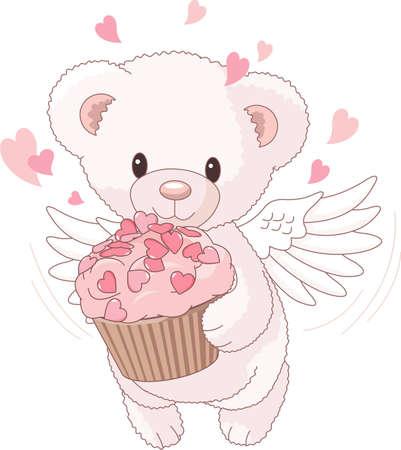 Cute Teddy bear angel bringing the love cupcake Stock Vector - 9782500