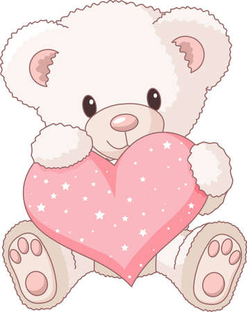 teddy bear cartoon: Cute Teddy Bear with pink love heart  Illustration