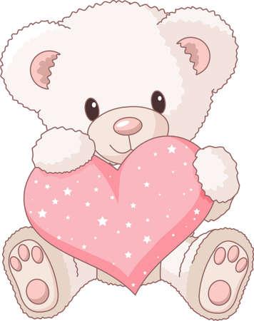 teddy: S�sse Teddyb�r mit Rosa Liebe Herzen  Illustration