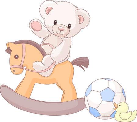 teddy bear: Illustration des ours en peluche mignons mont� sur un cheval en bois