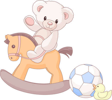 Illustration of cute Teddy Bear  riding a wooden horse  Vector